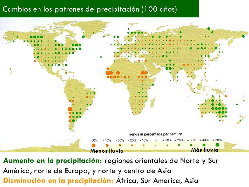 Cambios en los patrones de precipitación (100 años)
