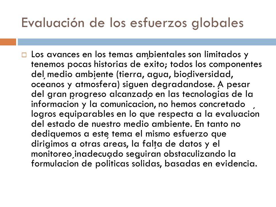 Evaluación de los esfuerzos globales