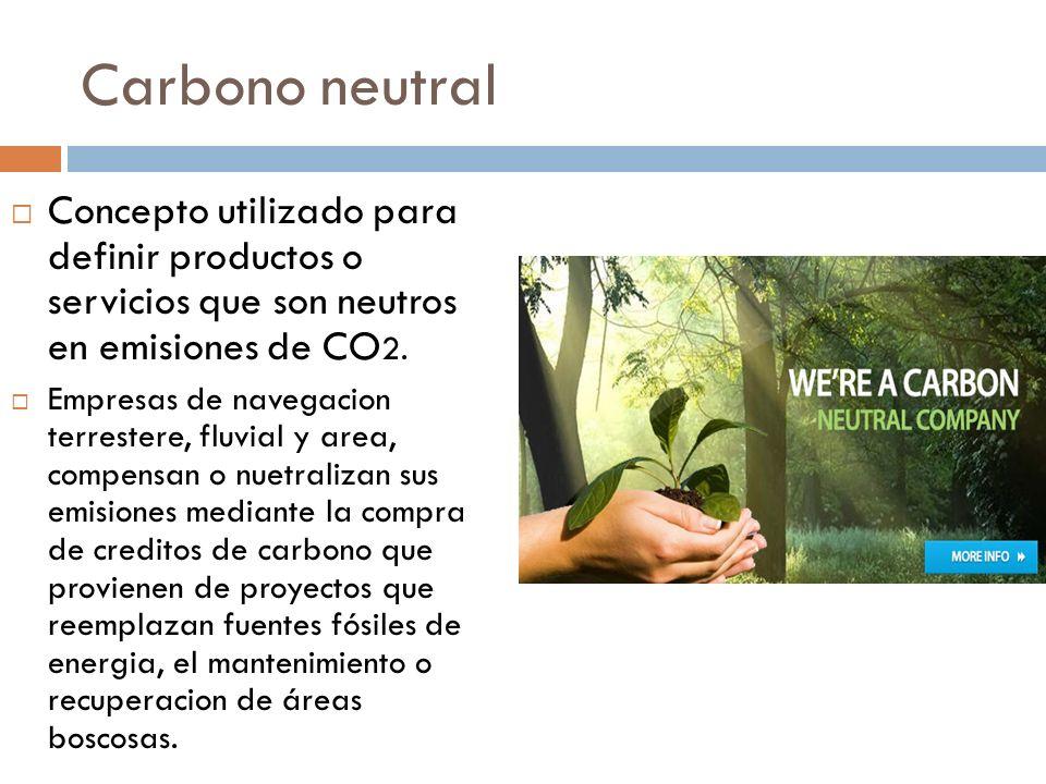 Carbono neutral Concepto utilizado para definir productos o servicios que son neutros en emisiones de CO2.