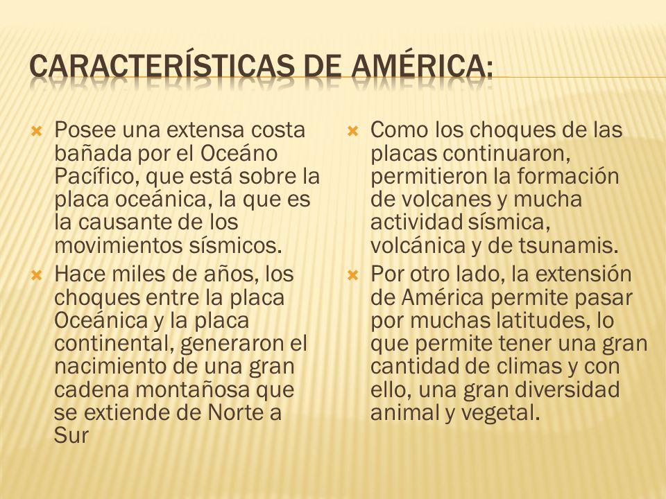 CarACTERÍSTICAS DE AMÉRICA: