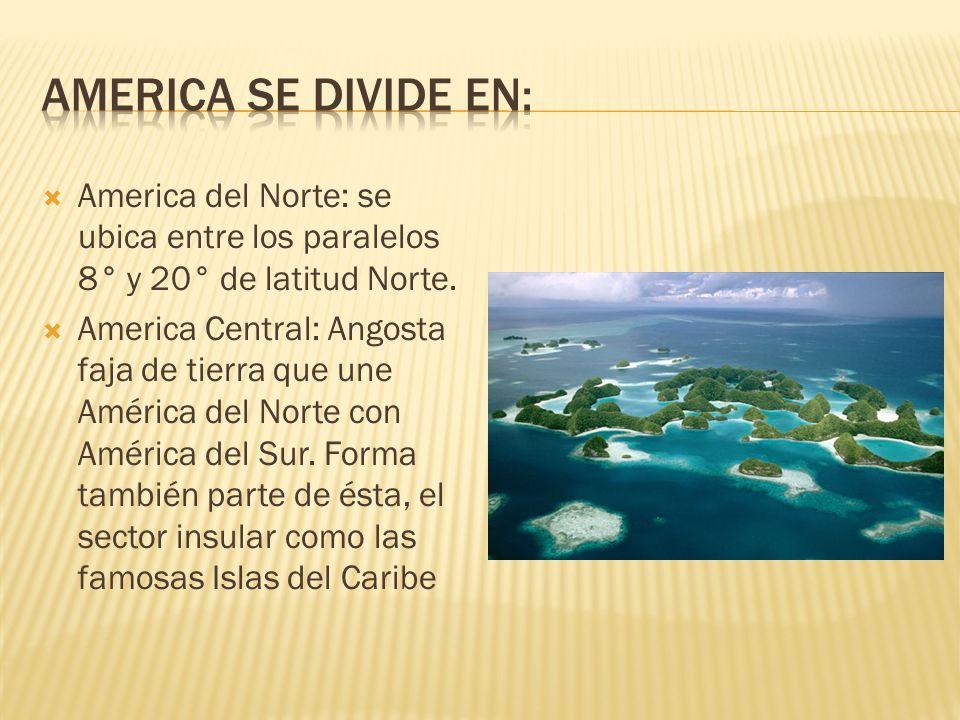 America se divide en: America del Norte: se ubica entre los paralelos 8° y 20° de latitud Norte.