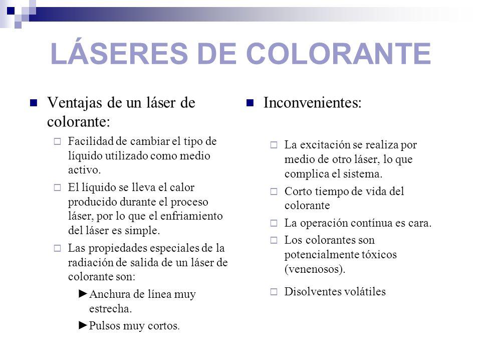 LÁSERES DE COLORANTE Ventajas de un láser de colorante: