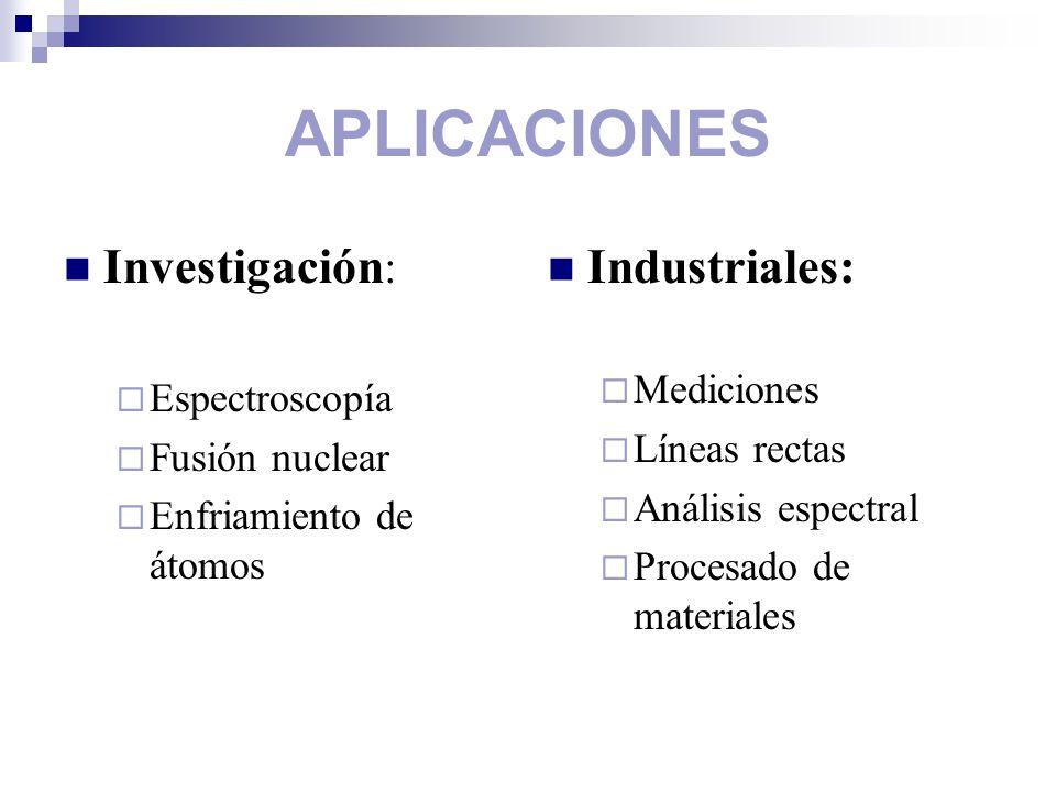 APLICACIONES Investigación: Industriales: Mediciones Espectroscopía
