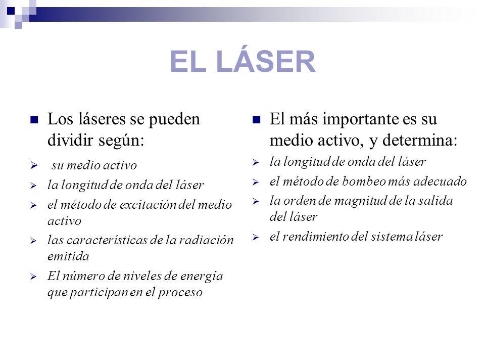 EL LÁSER Los láseres se pueden dividir según: