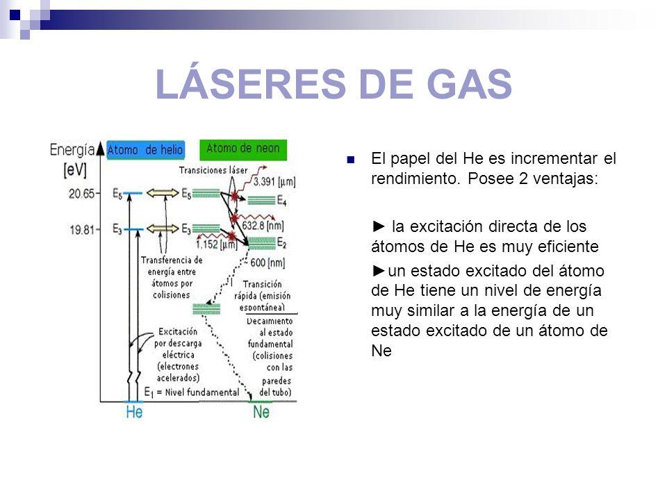 LÁSERES DE GAS El papel del He es incrementar el rendimiento. Posee 2 ventajas: ► la excitación directa de los átomos de He es muy eficiente.