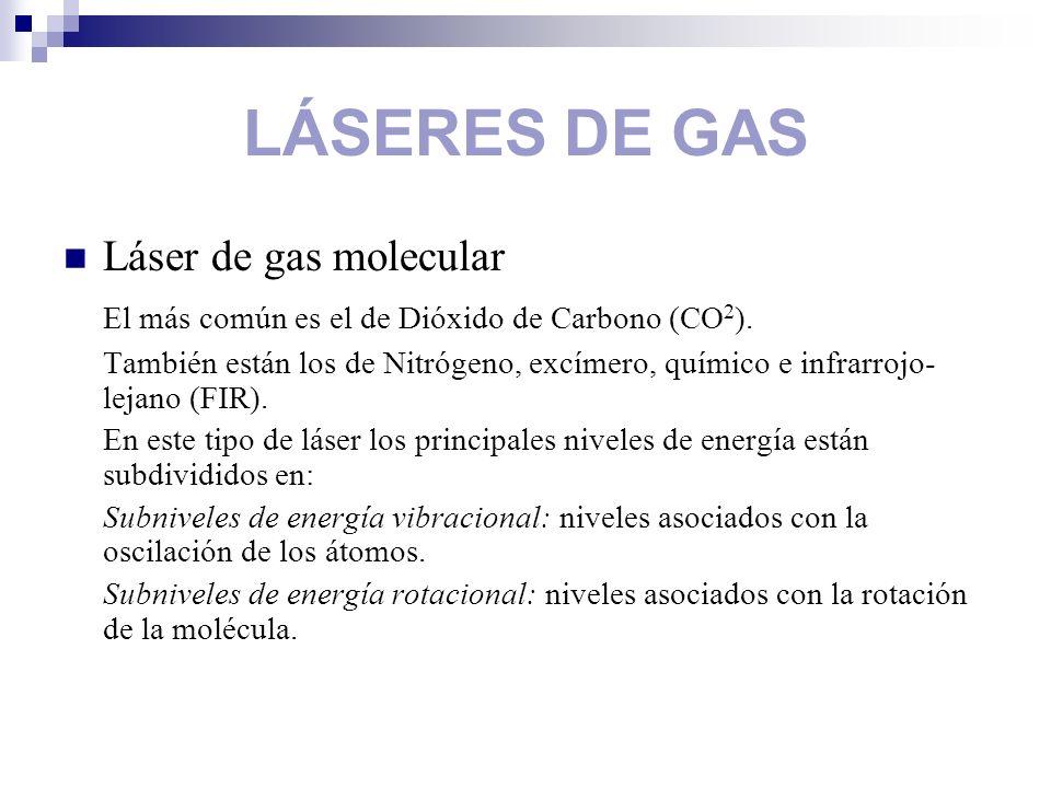 LÁSERES DE GAS Láser de gas molecular