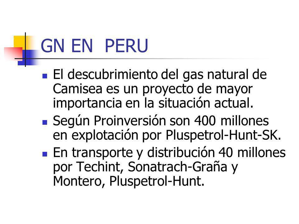 GN EN PERU El descubrimiento del gas natural de Camisea es un proyecto de mayor importancia en la situación actual.