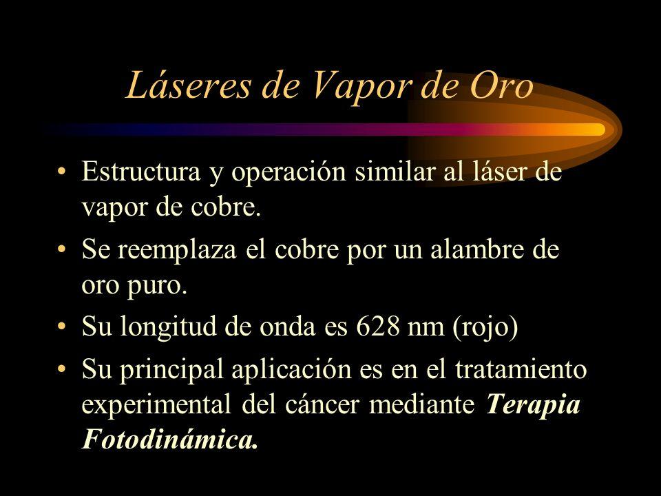 Láseres de Vapor de Oro Estructura y operación similar al láser de vapor de cobre. Se reemplaza el cobre por un alambre de oro puro.