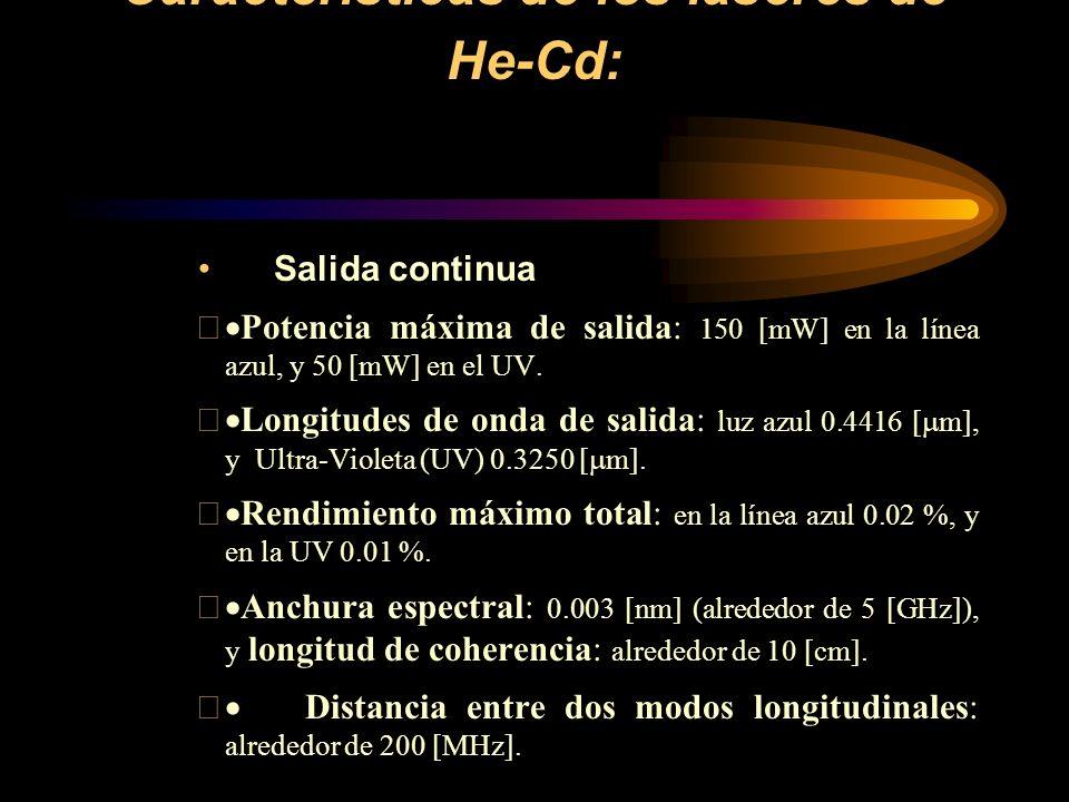Características de los láseres de He-Cd: