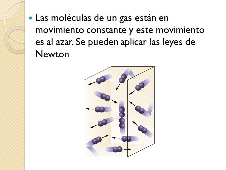 Las moléculas de un gas están en movimiento constante y este movimiento es al azar.