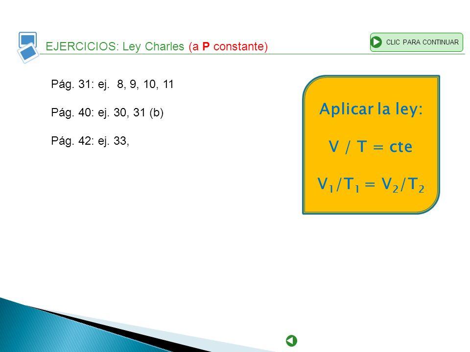 Aplicar la ley: V / T = cte V1/T1 = V2/T2