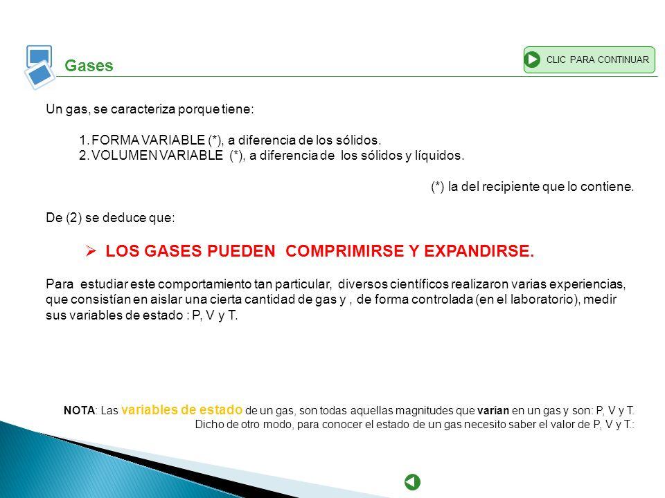 LOS GASES PUEDEN COMPRIMIRSE Y EXPANDIRSE.