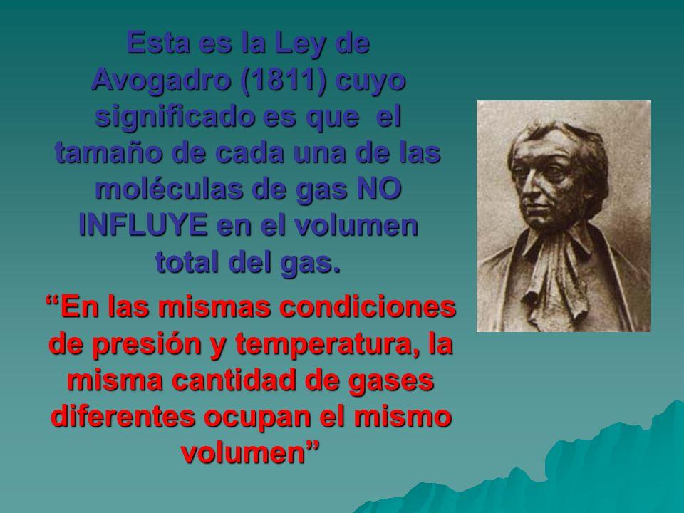 Esta es la Ley de Avogadro (1811) cuyo significado es que el tamaño de cada una de las moléculas de gas NO INFLUYE en el volumen total del gas.