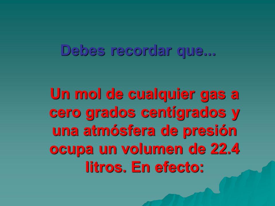 Debes recordar que...Un mol de cualquier gas a cero grados centígrados y una atmósfera de presión ocupa un volumen de 22.4 litros.