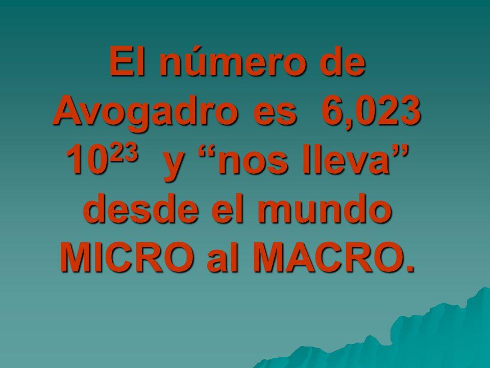 El número de Avogadro es 6,023 1023 y nos lleva desde el mundo MICRO al MACRO.