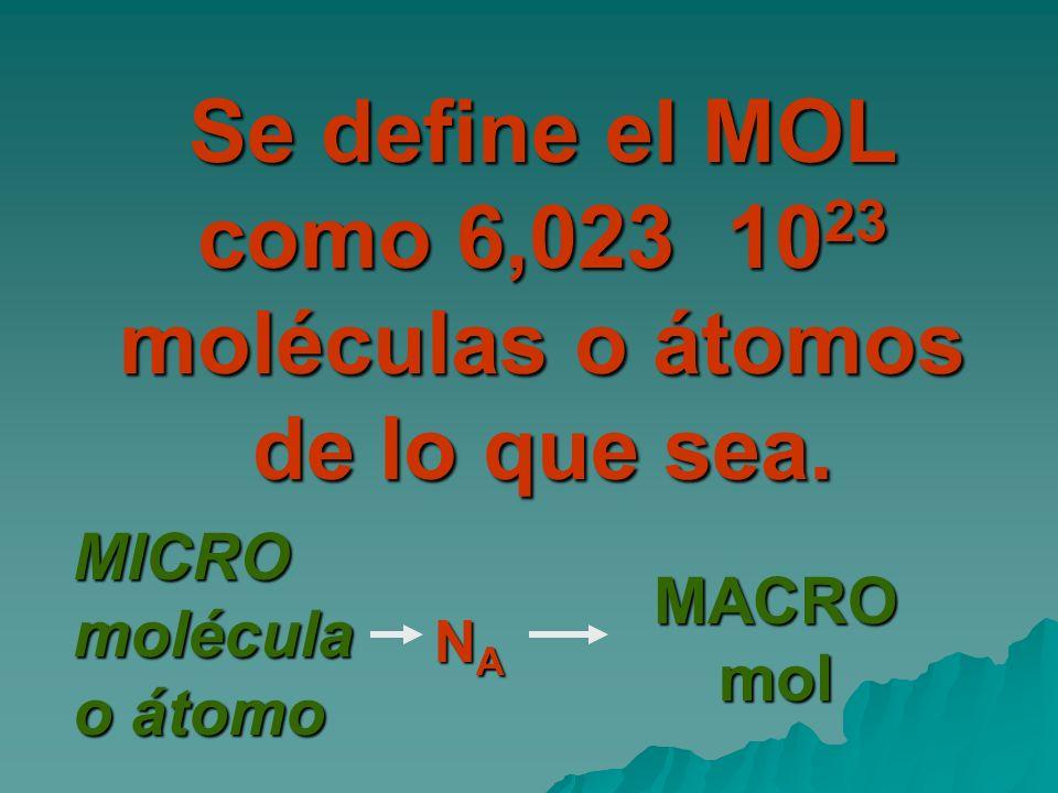 Se define el MOL como 6,023 1023 moléculas o átomos de lo que sea.