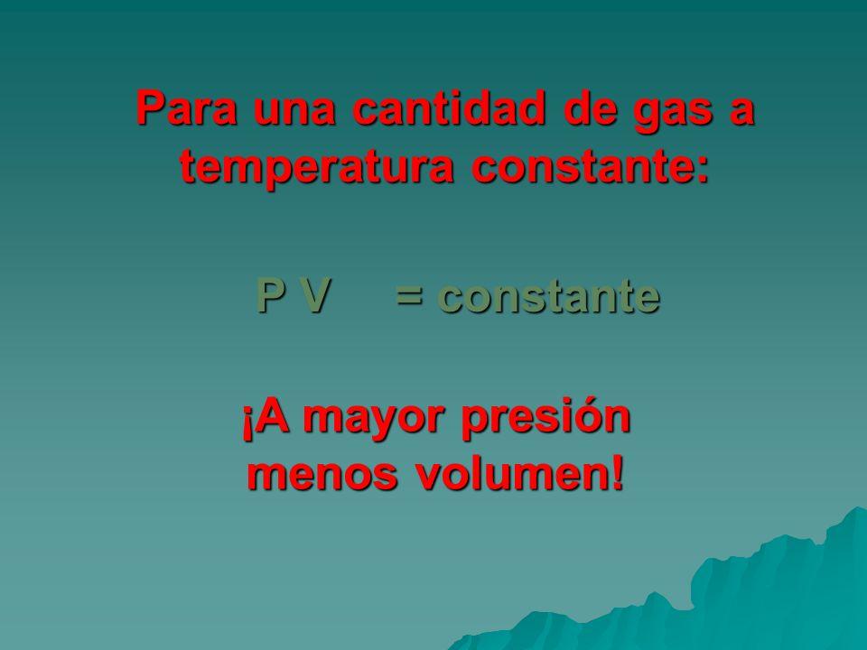 Para una cantidad de gas a temperatura constante: