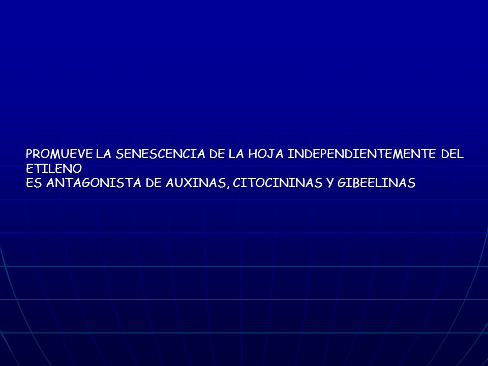 PROMUEVE LA SENESCENCIA DE LA HOJA INDEPENDIENTEMENTE DEL ETILENO
