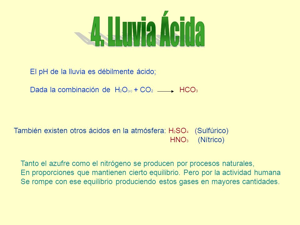 4. LLuvia Ácida El pH de la lluvia es débilmente ácido;