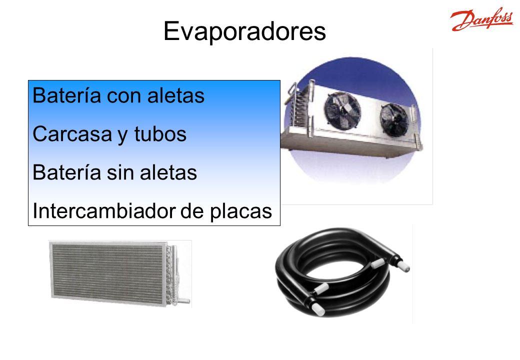 Evaporadores Batería con aletas Carcasa y tubos Batería sin aletas