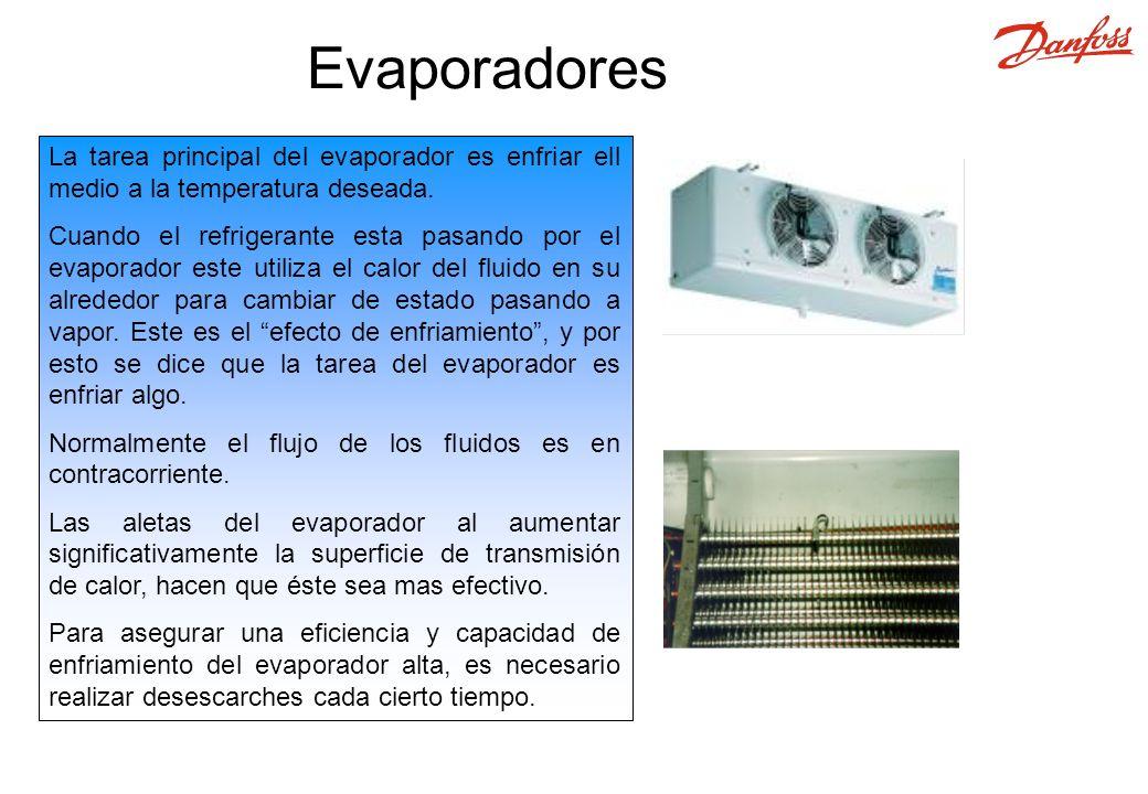 Evaporadores La tarea principal del evaporador es enfriar ell medio a la temperatura deseada.