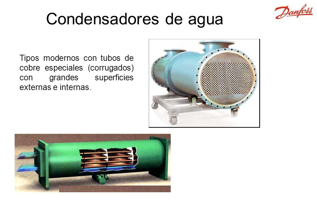 Condensadores de agua Tipos modernos con tubos de cobre especiales (corrugados) con grandes superficies externas e internas.