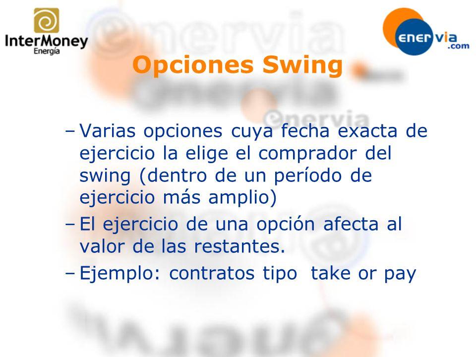 Opciones Swing Varias opciones cuya fecha exacta de ejercicio la elige el comprador del swing (dentro de un período de ejercicio más amplio)