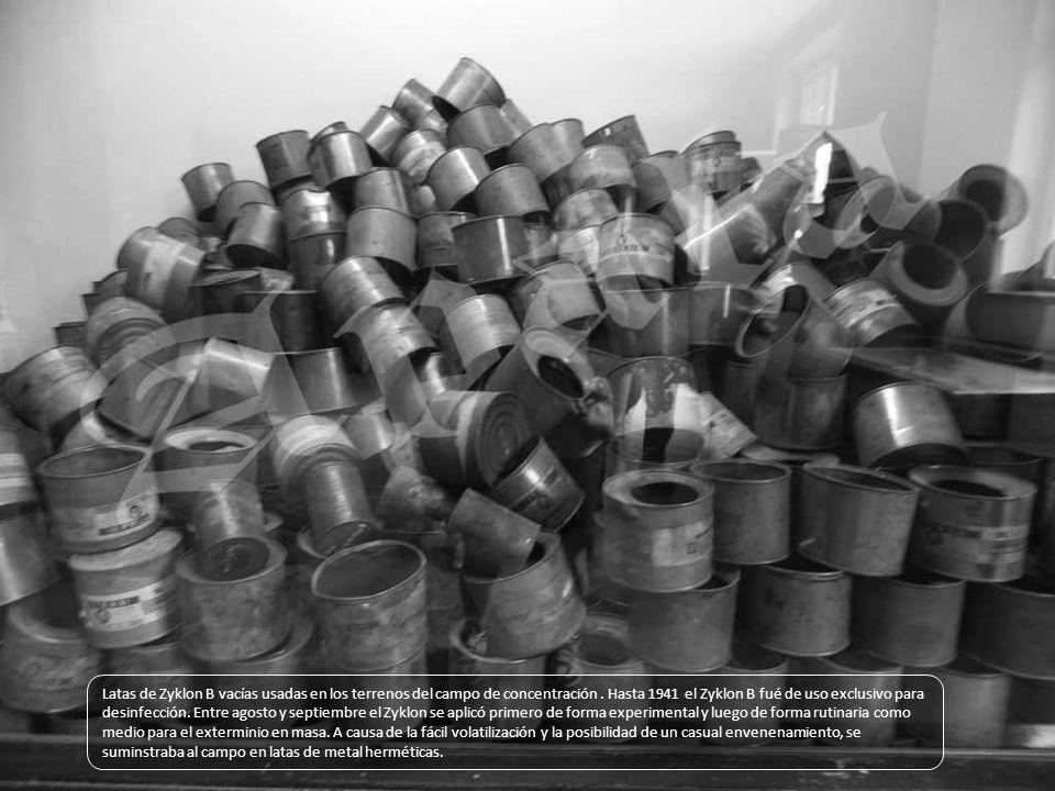 Latas de Zyklon B vacías usadas en los terrenos del campo de concentración .