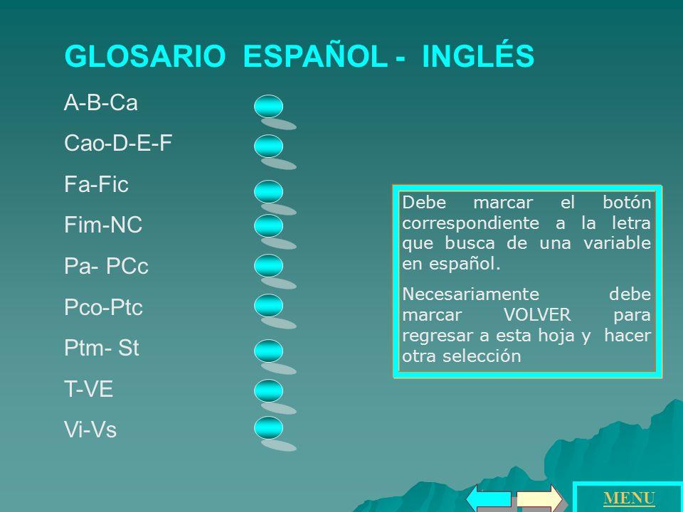 GLOSARIO ESPAÑOL - INGLÉS