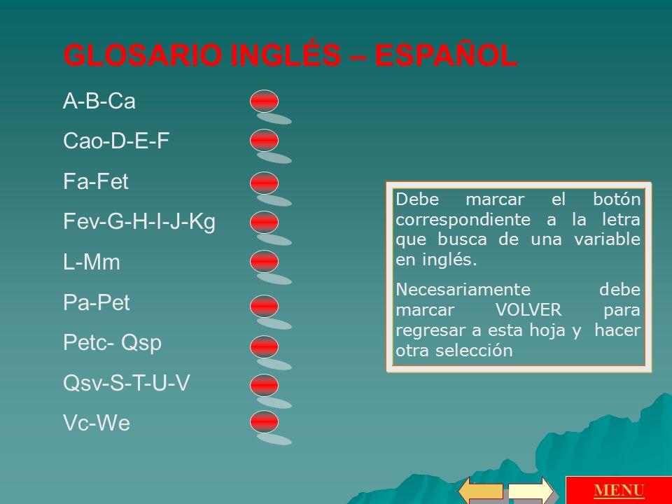 GLOSARIO INGLÉS – ESPAÑOL