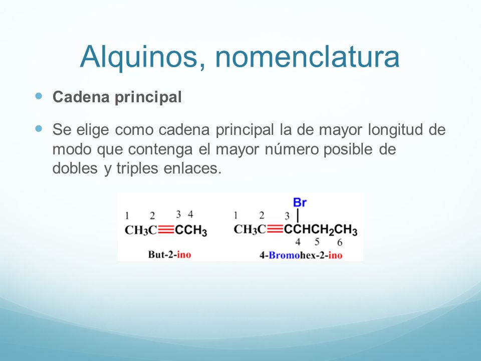 Alquinos, nomenclatura