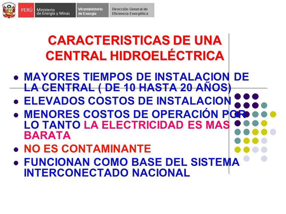 CARACTERISTICAS DE UNA CENTRAL HIDROELÉCTRICA