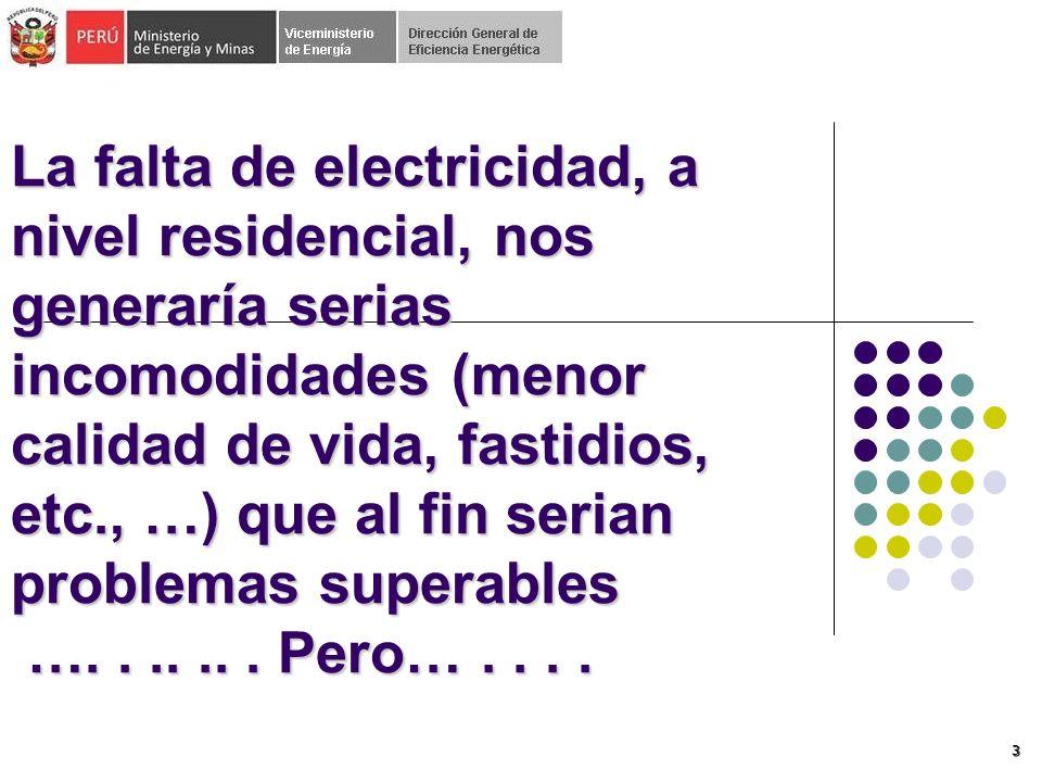 La falta de electricidad, a nivel residencial, nos generaría serias incomodidades (menor calidad de vida, fastidios, etc., …) que al fin serian problemas superables …. . .. .. . Pero… . . . .