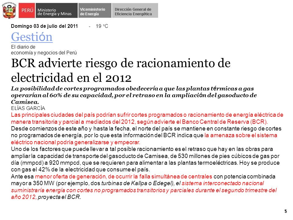 BCR advierte riesgo de racionamiento de electricidad en el 2012