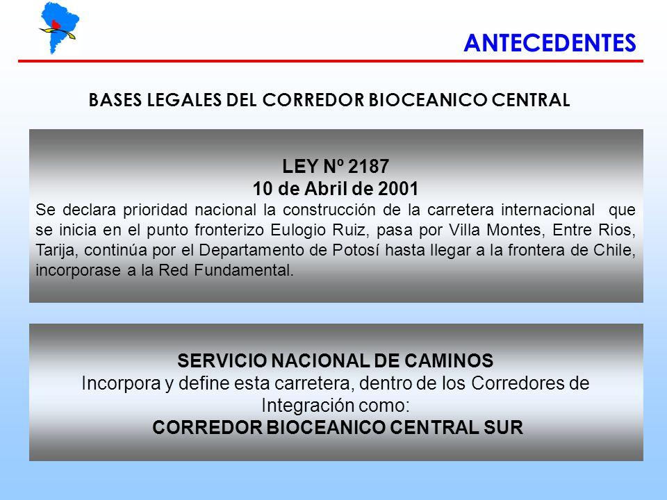 SERVICIO NACIONAL DE CAMINOS CORREDOR BIOCEANICO CENTRAL SUR
