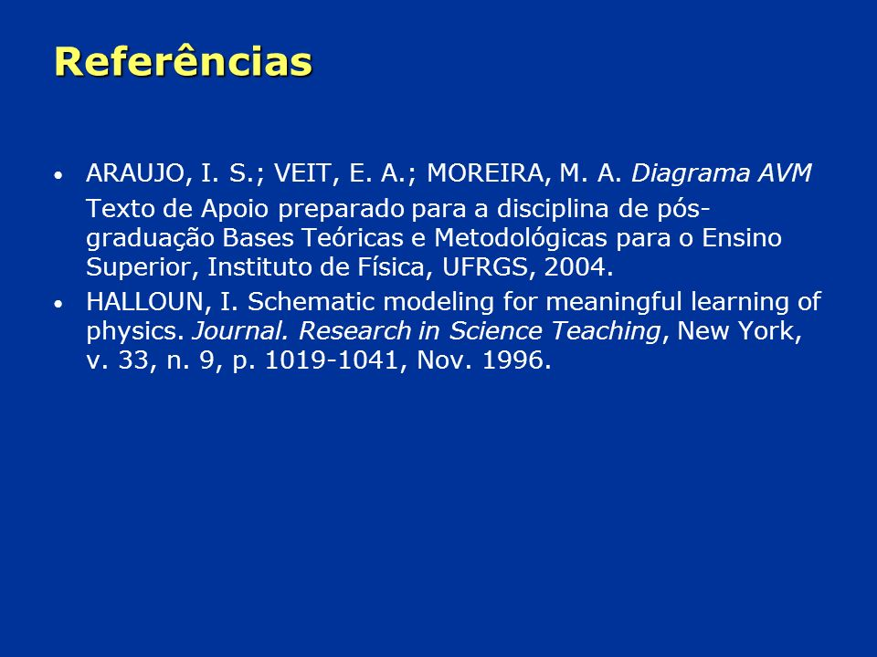 Referências ARAUJO, I. S.; VEIT, E. A.; MOREIRA, M. A. Diagrama AVM
