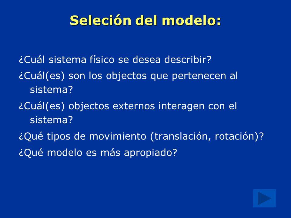 Seleción del modelo: ¿Cuál sistema físico se desea describir