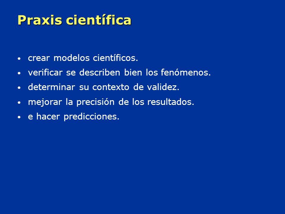 Praxis científica crear modelos científicos.