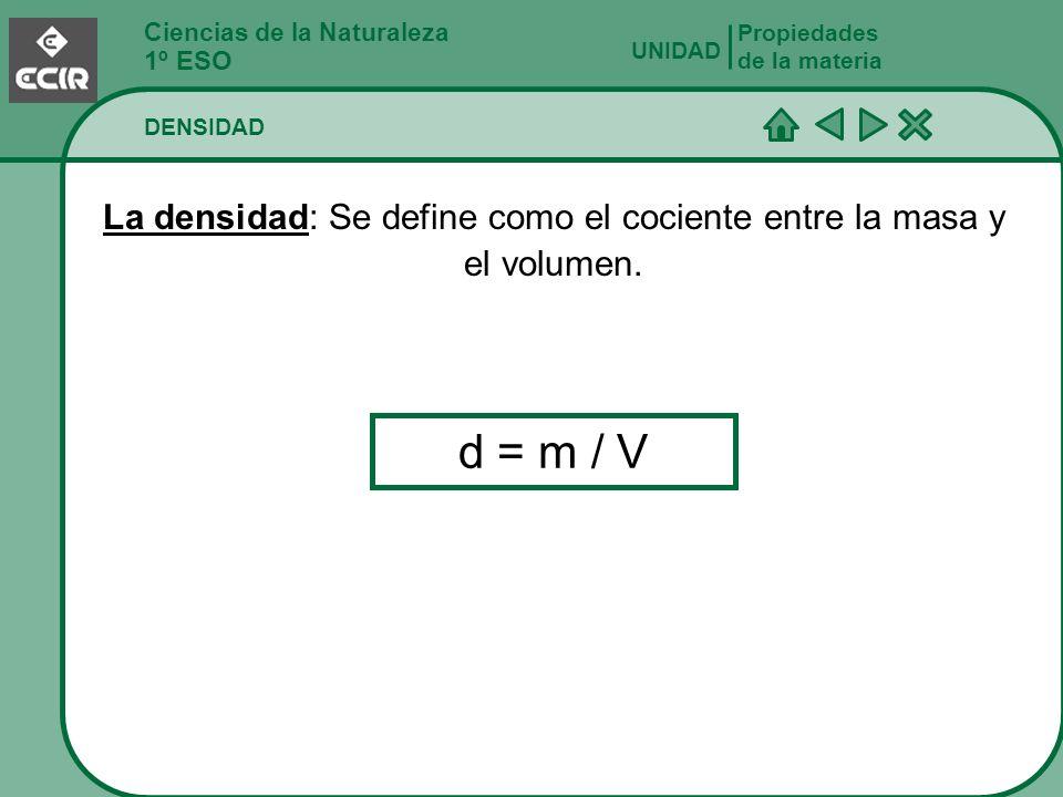 La densidad: Se define como el cociente entre la masa y el volumen.