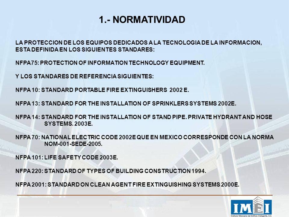 1.- NORMATIVIDAD LA PROTECCION DE LOS EQUIPOS DEDICADOS A LA TECNOLOGIA DE LA INFORMACION, ESTA DEFINIDA EN LOS SIGUIENTES STANDARES: