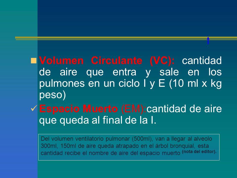 Espacio Muerto (EM):cantidad de aire que queda al final de la I.