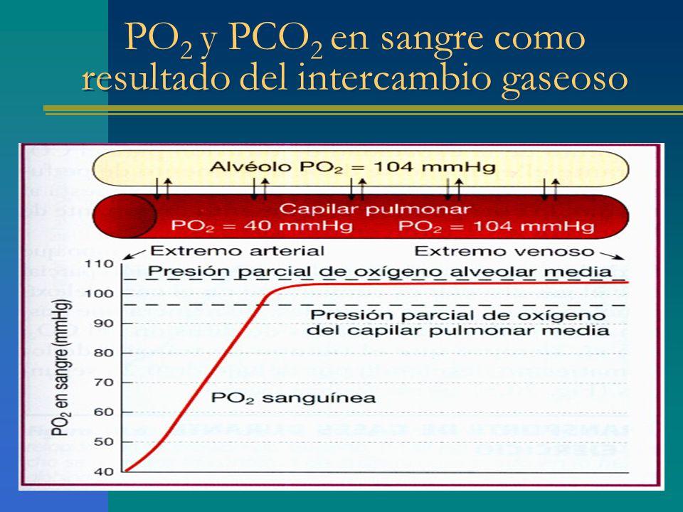 PO2 y PCO2 en sangre como resultado del intercambio gaseoso
