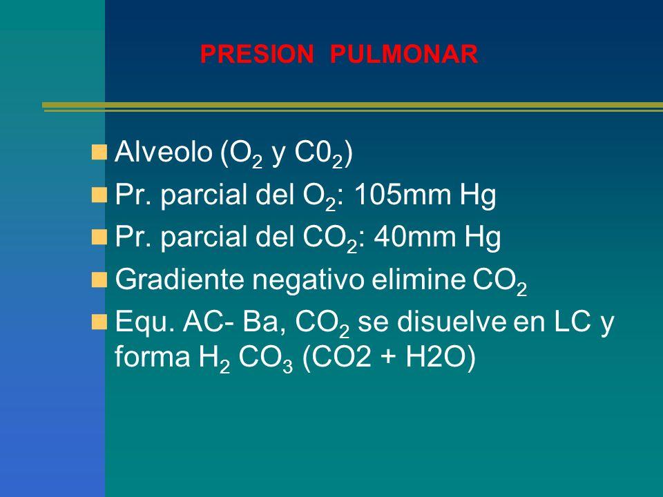Gradiente negativo elimine CO2