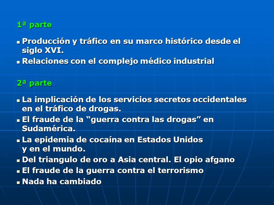 1ª parte Producción y tráfico en su marco histórico desde el siglo XVI. Relaciones con el complejo médico industrial.