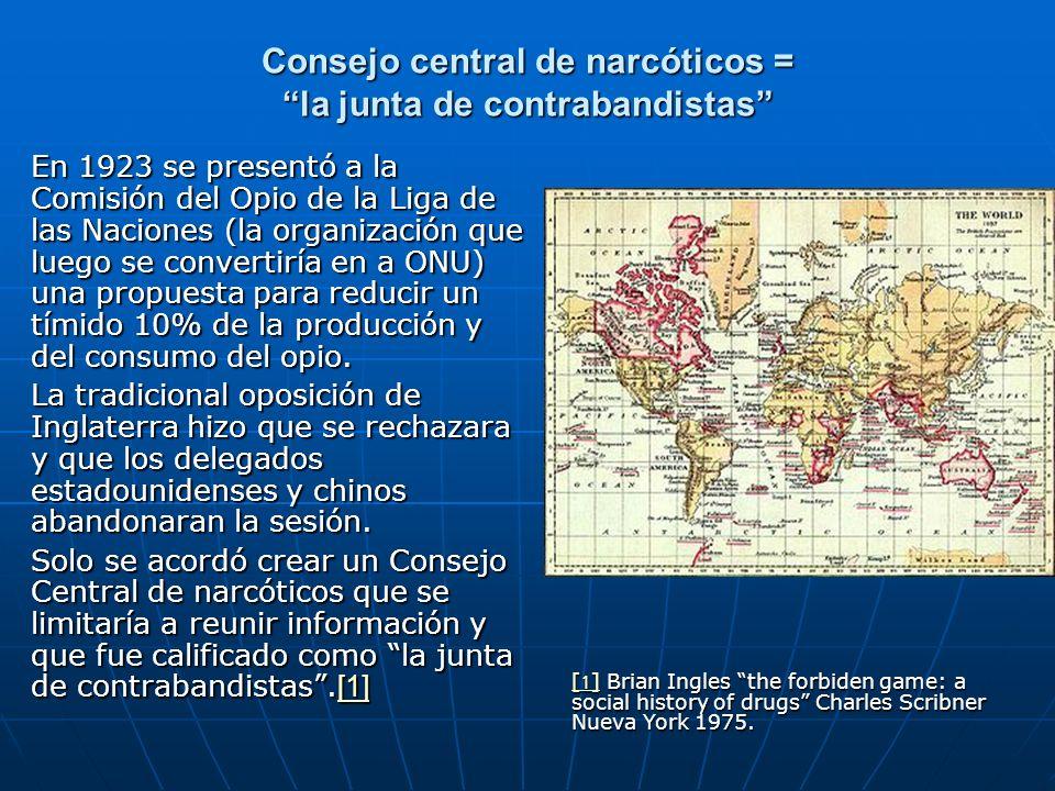 Consejo central de narcóticos = la junta de contrabandistas