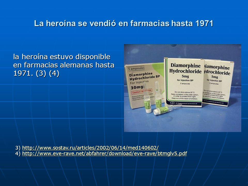 La heroína se vendió en farmacias hasta 1971