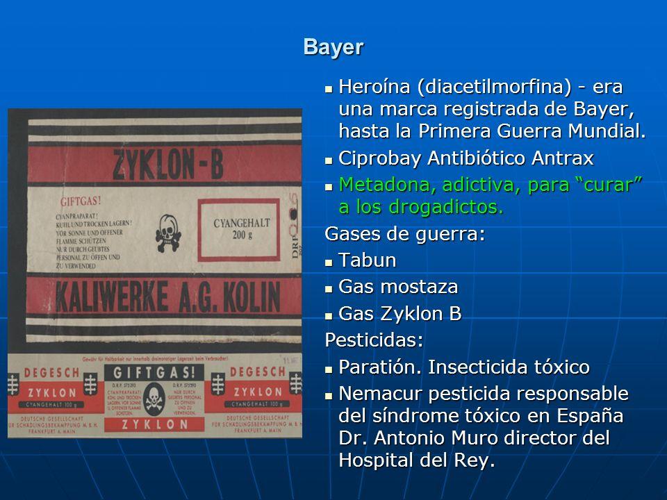 Bayer Heroína (diacetilmorfina) - era una marca registrada de Bayer, hasta la Primera Guerra Mundial.