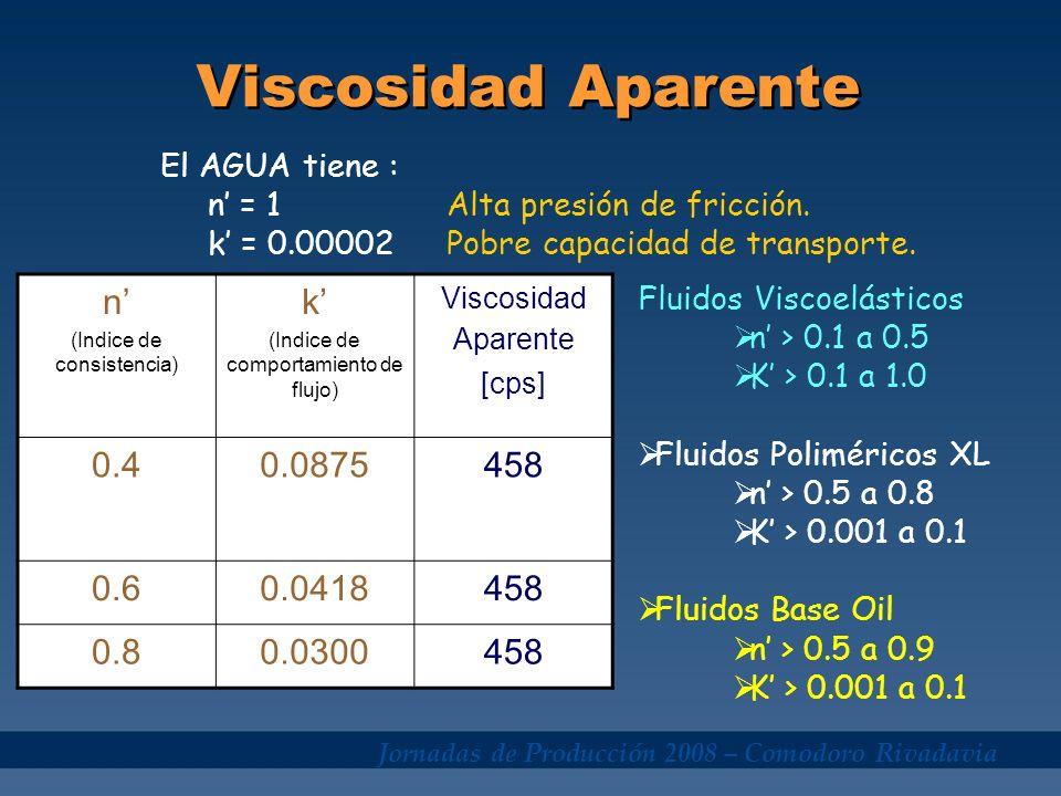 Viscosidad Aparente n' k' 0.4 0.0875 458 0.6 0.0418 0.8 0.0300