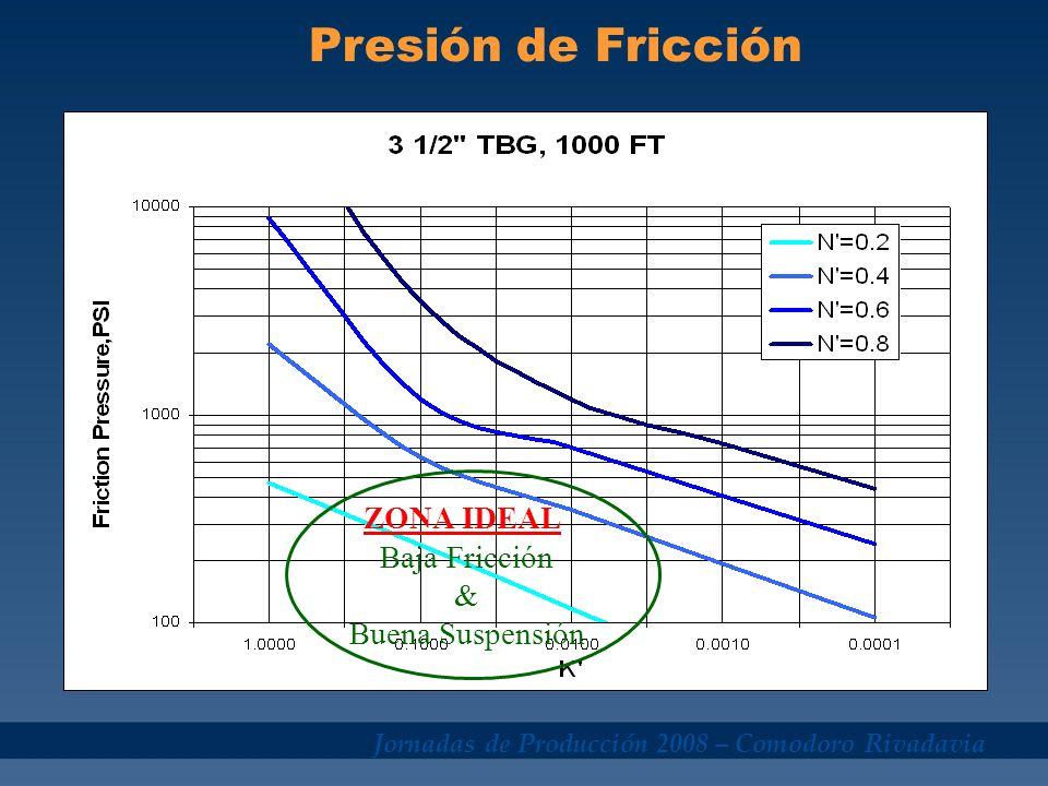 Presión de Fricción ZONA IDEAL Baja Fricción & Buena Suspensión