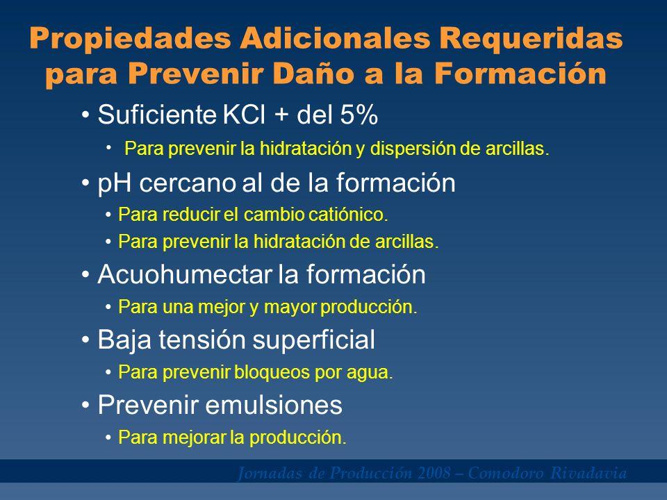 Propiedades Adicionales Requeridas para Prevenir Daño a la Formación